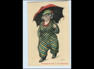 Y5017/ Schwiegermutter i.d. Rockhose mit Regenschirm H. Zahl Künstler AK ca.1920