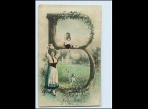 """T3966/ Buchstaben Foto AK koloriert """"B"""" Fotomontage 1905"""