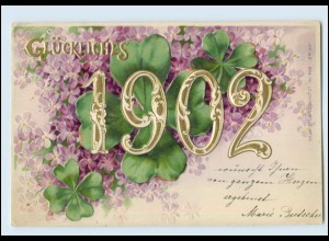 Y5055/ Neujahr Jahreszahl AK 1902 Litho Prägedruck