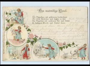 Y5124/ Das mutwillige Liesel Puppe Hund Litho AK 1903