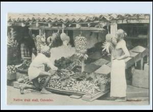T4152/ Colombo Native fruit stall Obstverkäufer Ceylon AK ca.1910