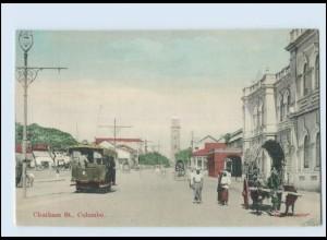 T4153/ Colombo Chatham St. Tram Straßenbahn Ceylon AK ca.1910