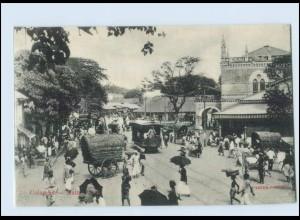 T4156/ Colombo Main Street Tram Straßenbahn Ceylon AK ca.1910