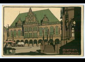 T4524/ Steinzeichnung Bremen Rathaus Litho Ak ca.1912