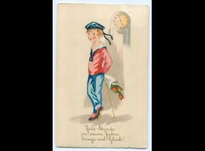 Y5176/ Neujahr Junge mit Blumenstrauß Litho AK 1928