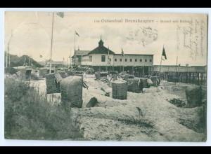 T4335-182./ Brunshaupten Strand mit Bädern 1912 AK