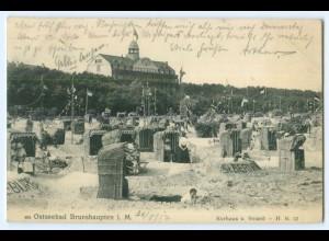 T4334-182./ Brunshaupten Kurhaus und Strand 1912 AK