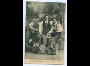 Y6509/ Musiker-Trio mit Geige Akkordeon usw. 1913 AK