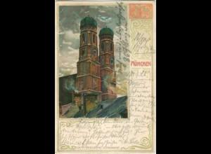 Y5483/ München Frauenkirche Velten`s Litho AK 1904