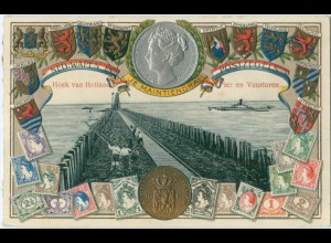 S050/ Hiek van Holland Pier en Vuurtoren Briefmarken Wappen Litho Präge AK