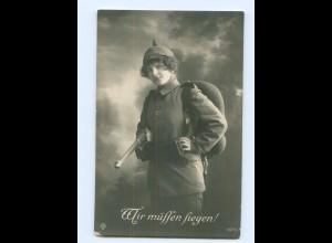 T5203/ Frau in Uniform mit Gewehr - Wir müssen siegen! 1. Weltkrieg Foto AK