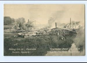 T5359/ Vouziers Sägewerek brennt Feuer 1915 1. Weltkrieg Frankreich AK