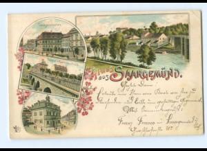 T5061/ Gruß aus Saargemünd schöne Litho AK 1897