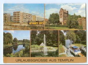 Y5865/ Templin Stadtmauer und Prenzlauer Tor Templiner Kanal AK