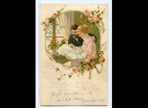 Y5750/ Geburt Eltern mit Baby schöne Litho AK 1906