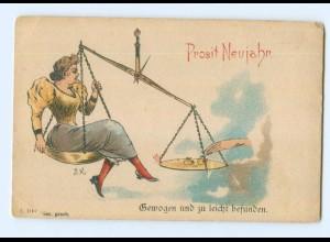 Y5754/ Neujahr Frau sitzt auf einer Waage Litho AK ca.1895