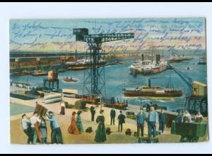 """Y5999/ Hamburg Kaiser Wilhelm-Hafen mit """"Großer Krahn"""" 1914 AK"""