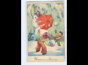 Y5563/ Heureuse Annee Neujahr Kinder Schneemann AK ca.1950