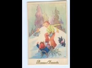Y5562/ Bonne Annee Neujahr Kinder Rodeln Schlitten AK ca.1950