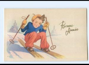 Y5560/ Bonne Annee Neujahr Kinder Skifahren AK ca.1950