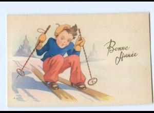 Y5559/ Bonne Annee Neujahr Kinder Skifahren AK ca.1950