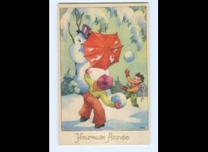 Y5556/ Heureuse Annee Neujahr Kinder Schneemann AK ca.1950