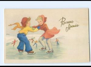 Y5554/ Bonne Annee Neujahr Kinder Eislaufen AK ca.1950