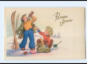Y5553/ Bonne Annee Neujahr Kinder Skifahren AK ca.1950