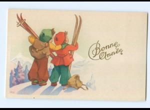 Y5552/ Bonne Annee Neujahr Kinder Skifahren AK ca.1950