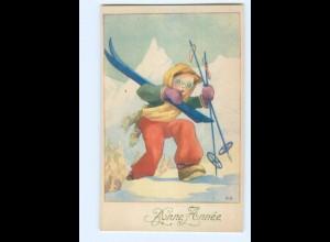 Y5551/ Bonne Annee Neujahr Skifahren AK ca.1950