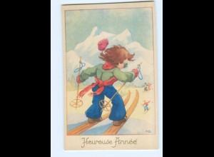 Y5550/ Heureuse Annee Neujahr Skifahren AK ca.1950