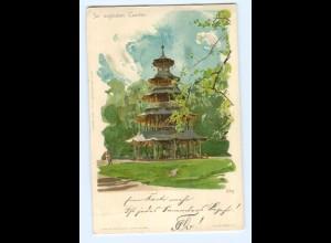 Y5544/ München Engl. Garten sign: Kley Litho AK Privat Stadtpost ca.1900