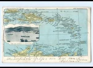 T5757/ Haiti S. Domingo St. Thomas Karibik Landkarten AK ca.1912
