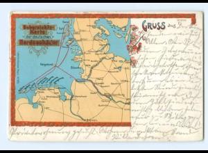 T5694/ Nordseebäder Übersichtskarte Litho Landkarten AK 1899