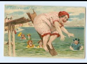 T5753/ Badeleben dicke Frau fällt ins Wasser, Litho AK 1901