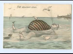 Y6366/ Badeleben - Fett schwimmt oben - dicker Mann, Humor AK ca.1912