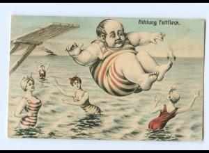 Y6365/ Badeleben - dicker Mann springt ins Wasser, Frauen AK 1911