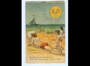 Y6316/ Badeleben Sonne Kind mit Lupe Humor Litho AK 1918