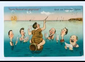 Y6353/ Männer singen im Wasser Ostseebad Dahme Humor AK 1912