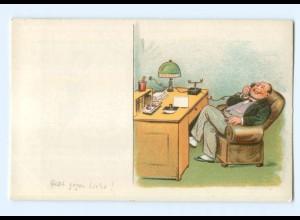 T5726/ Halt gegen Licht - Frau im Nigligee telefoniert, Litho Ak ca.1930