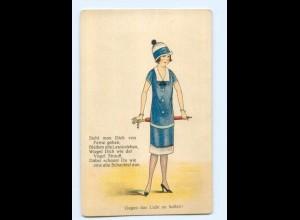 T5720/ Halt gegen Licht junge Frau und Hutschachtel Litho Ak ca.1925