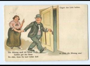 T5722/ Halt gegen Licht - Mann amüsiert sich mit junger Frau - Litho AK 1926