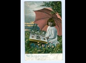 T5734/ AK-Geschichte Mädchen mit Ansichtskarten-Album AK 1904