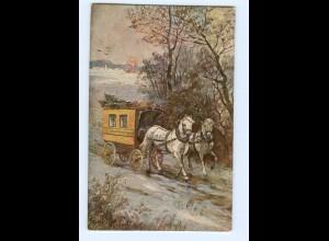 T5732/ Postkutsche schöne Künstler AK ca.1912