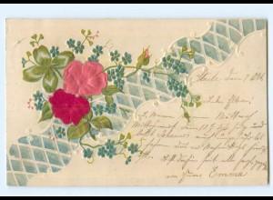 Y6349/ Blumen, Kleeblatt - Blüten aus Seide Litho Prägedruck 1901