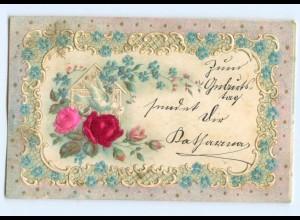 Y6345/ Blumen, Taube - Blüten aus Seide Litho Prägedruck 1902
