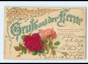 Y6346/ Gruß aus der Ferne, Rosen - Blüten aus Seide Litho Prägedruck 1901