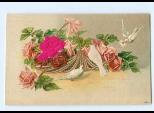 Y6348/ Rosen, Tauben - Blüten aus Seide Litho Prägedruck ca.1905