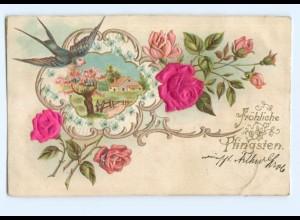 Y6344/ Pfingsten Schwalbe - Blüten aus Seide Litho Prägedruck 1902