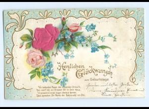Y6343/ Geburtstag - Blüten aus Seide Litho Prägedruck 1903